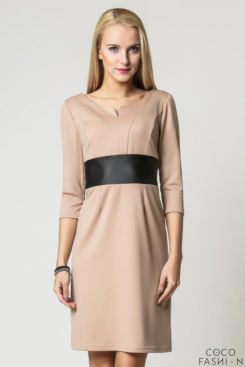 beige elegant eco leather black waist office dress