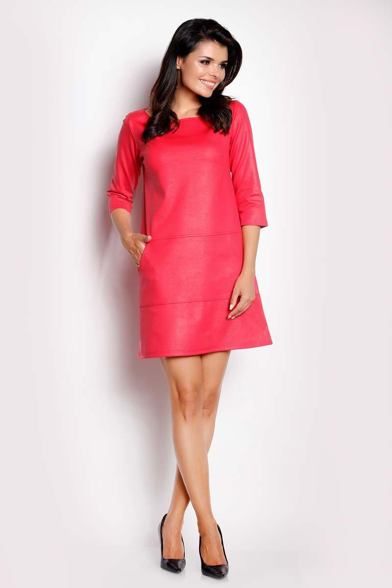 pink-eco-leather-flared-mini-dress