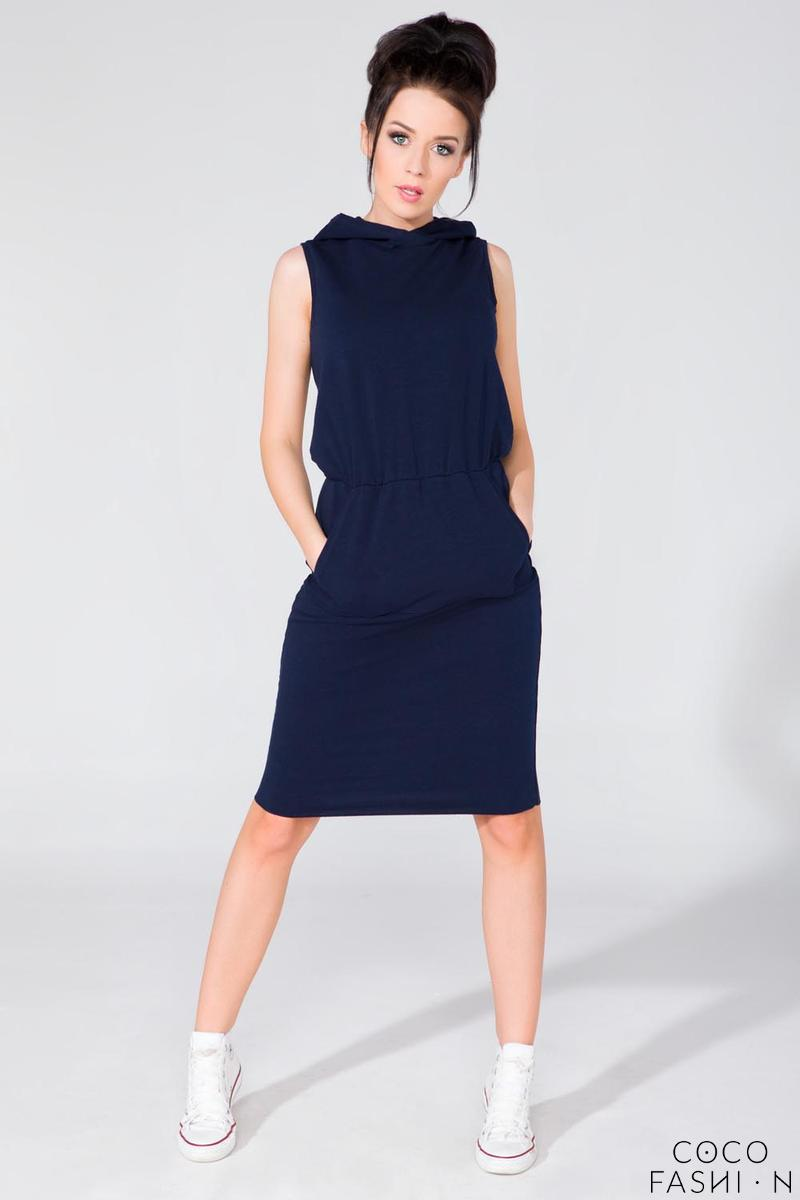 Dark Blue Hooded Sport Style Knee Length Dress