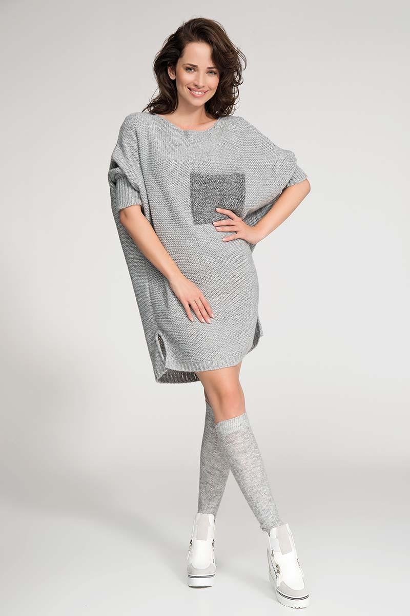 Grey Long Tunic Style Sweater