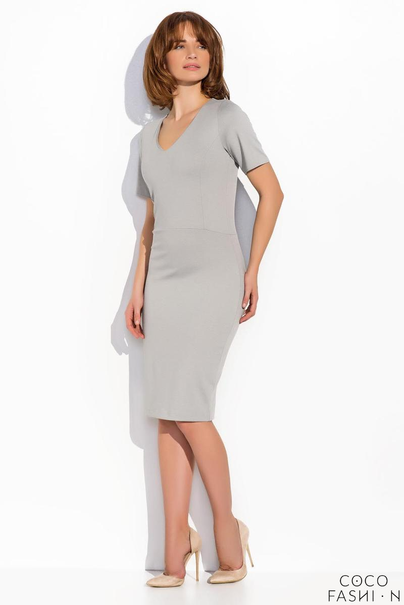Grey Classic Bodycon Fit V-Neckline Dress