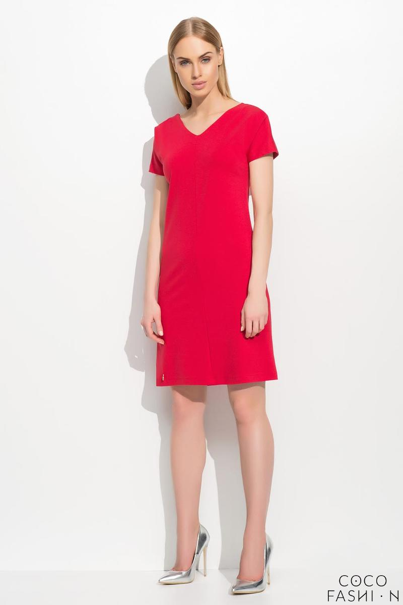 red-short-sleeves-plain-dress