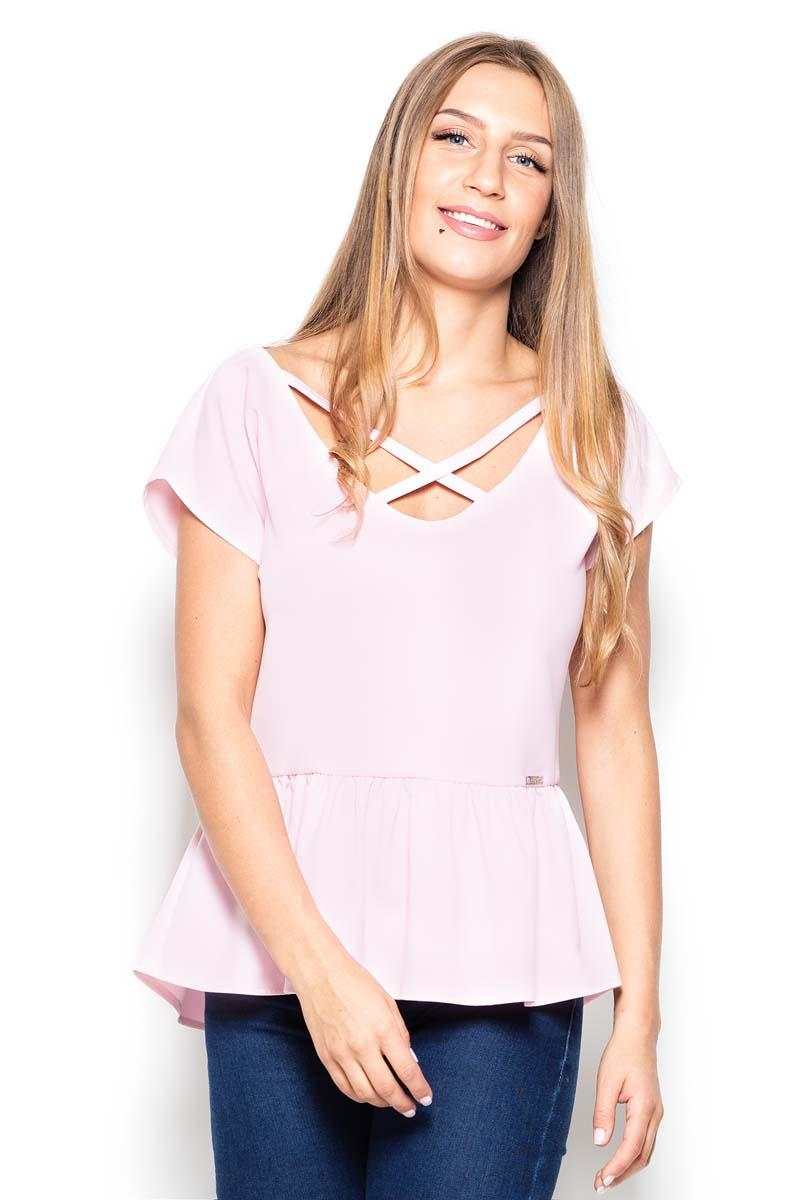 Pink Short Sleeves Blouse with a Peplum