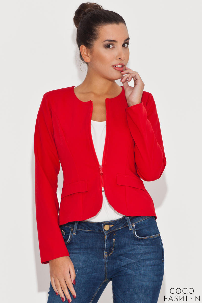 Round Neck Red Blazer with Semi Zipper Fastening