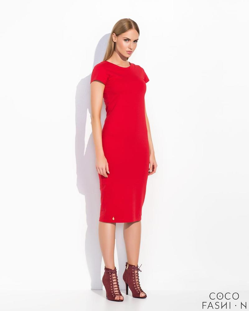 Red Plain&Simple Casual Midi Dress
