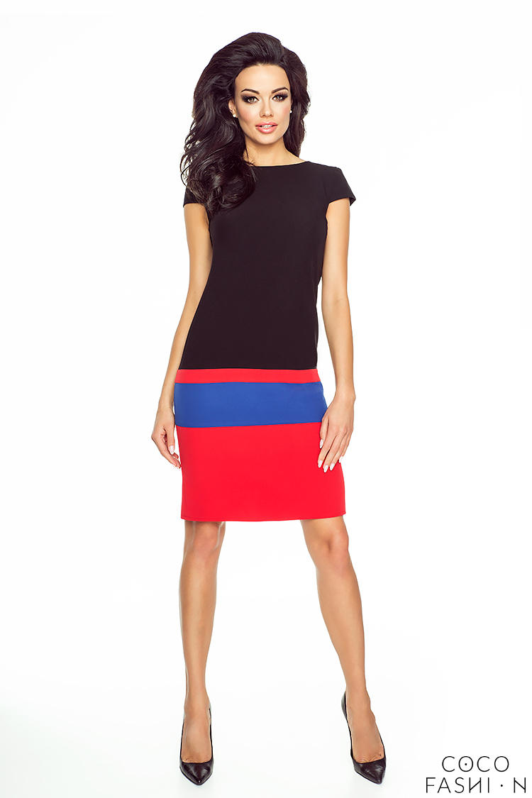 Black&Red Simple Striped Coctail Dress