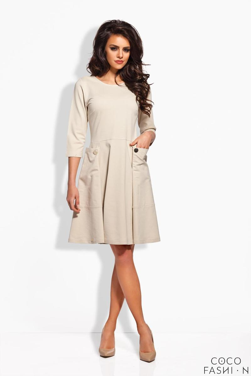 Beige Delicate Pleats Big Pockets Dress