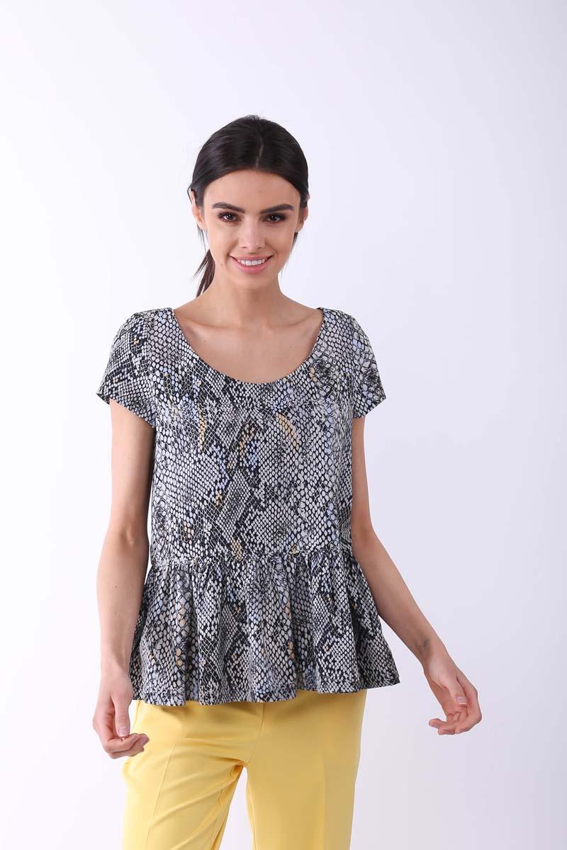 Patterned Classic Blouse with Frill at the Bottom