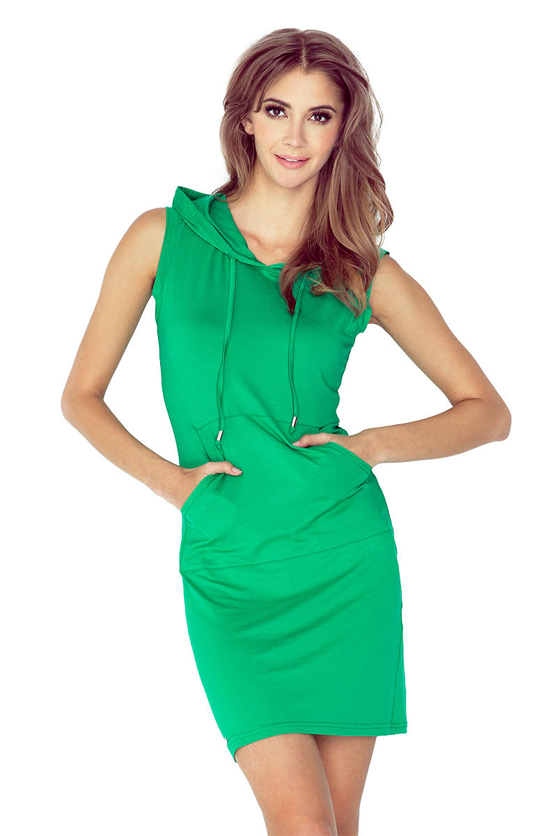 Green Hooded Mini Dress