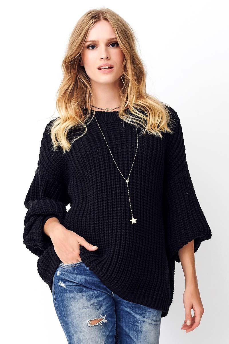 Black Oversize English Sweater