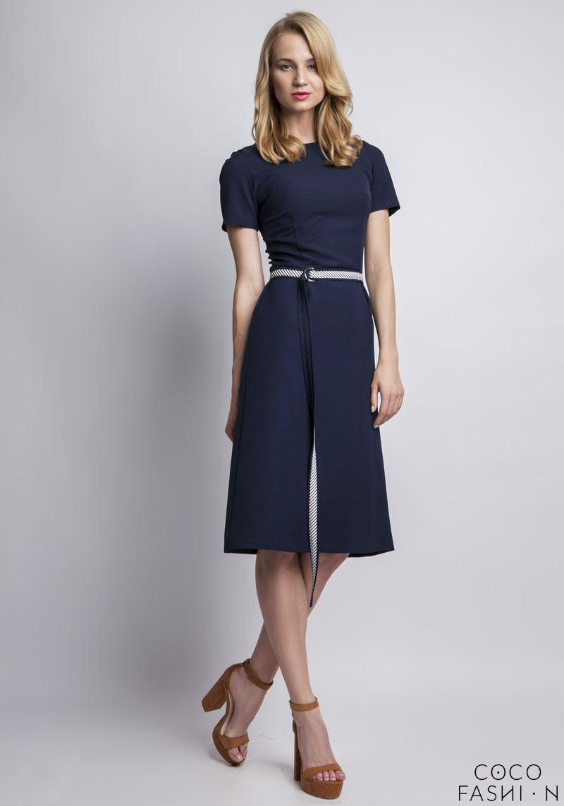 Dark Blue Classic Short Sleeves Midi Dress Belted