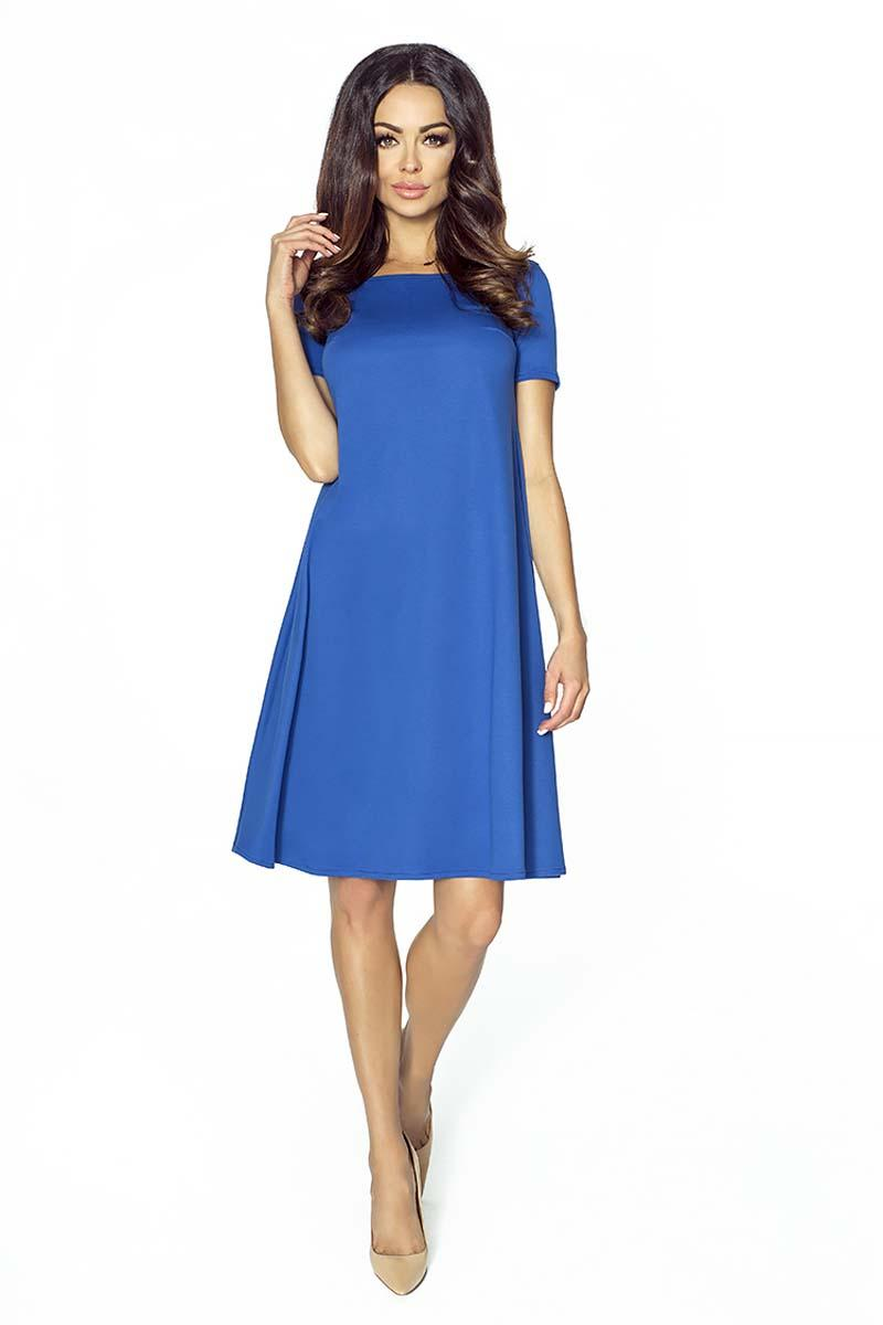 Blue Flared Short Sleeves Dress