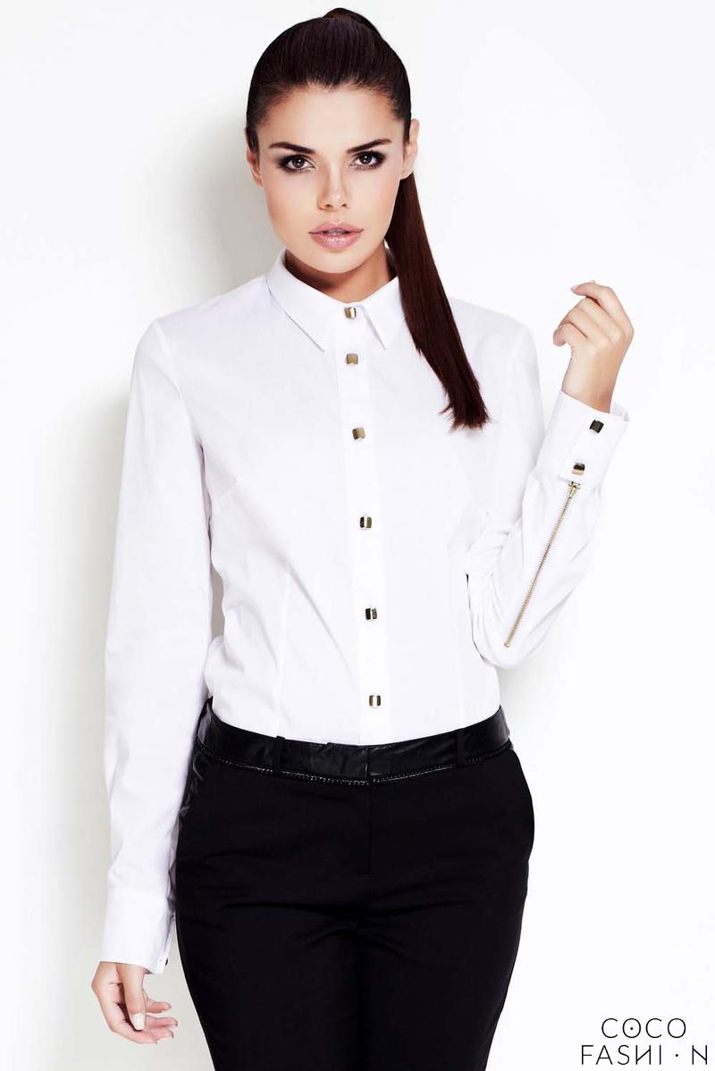 Ecru Collar Shirt with Metallic Buttons and Zipper Sleeves