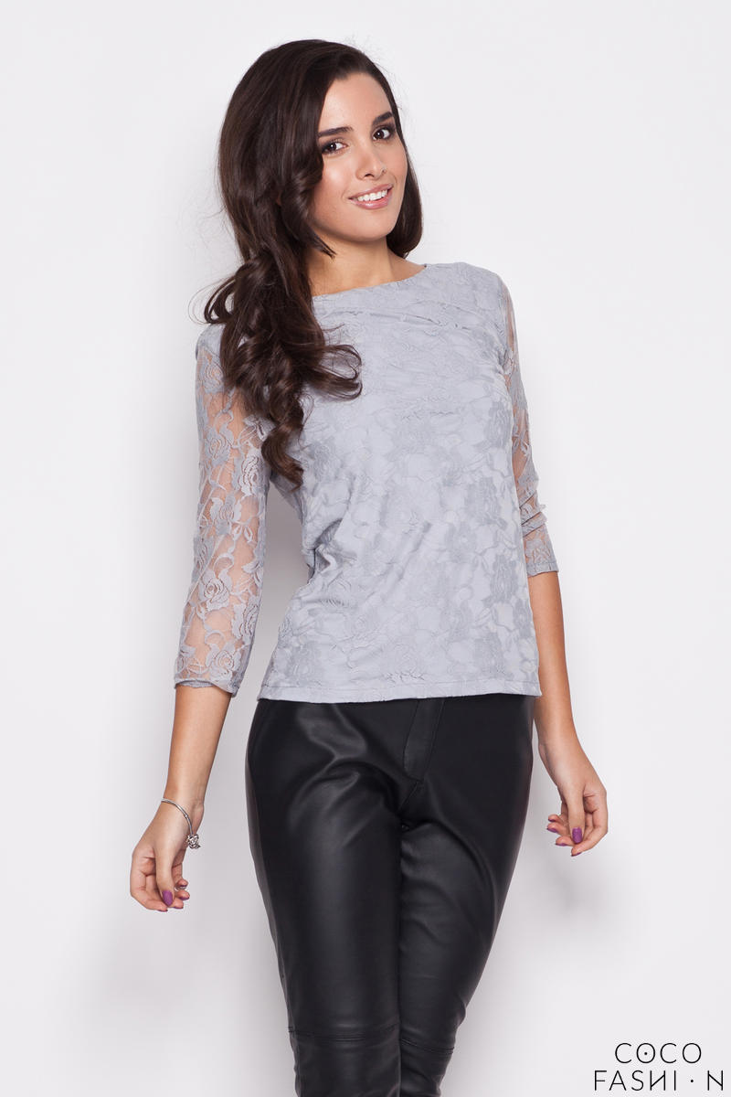 gray-bateau-neckline-floral-lace-blouse-with-34-sleeves