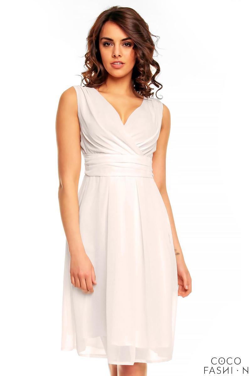 Off White Elegant Deep Neck Evening Dress от cocofashion