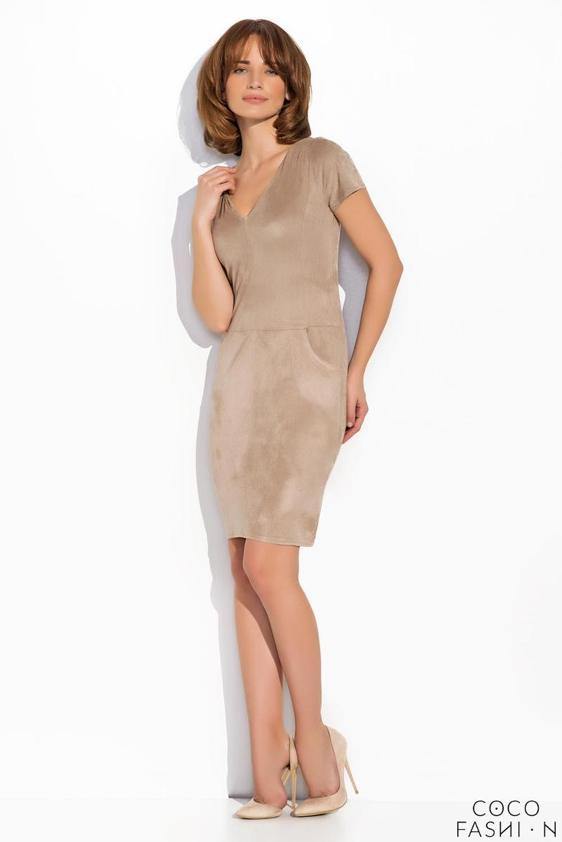 Beige Knee Length Short Sleeves Dress