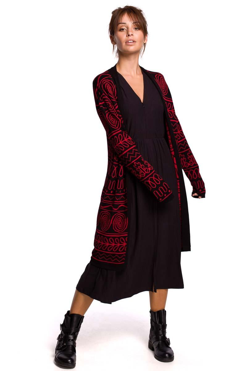 Maxi Patterned Cardigan with Rounded Hem (Pattern 2)