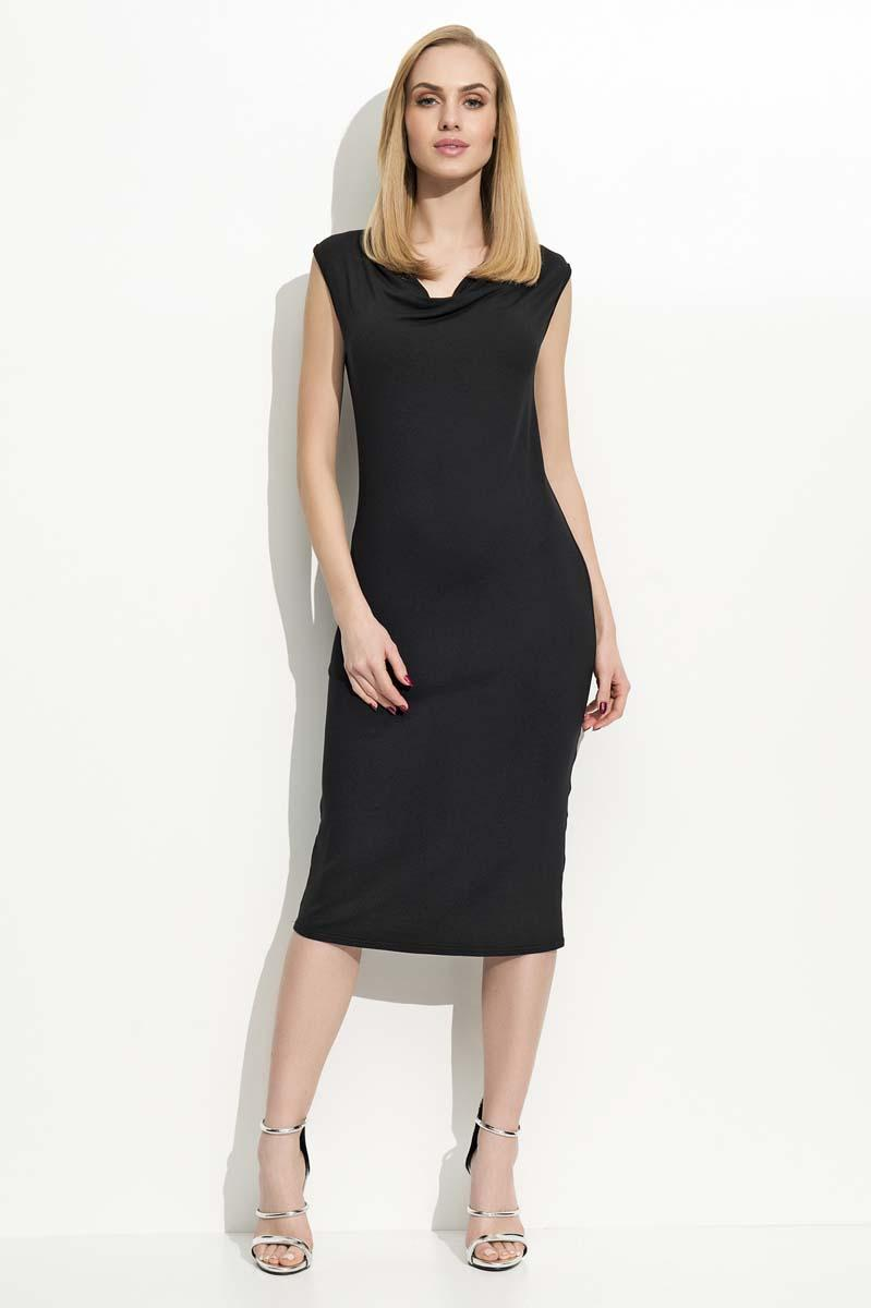 Black Slim Fit Midi Dress with Waterfall Style Neckline