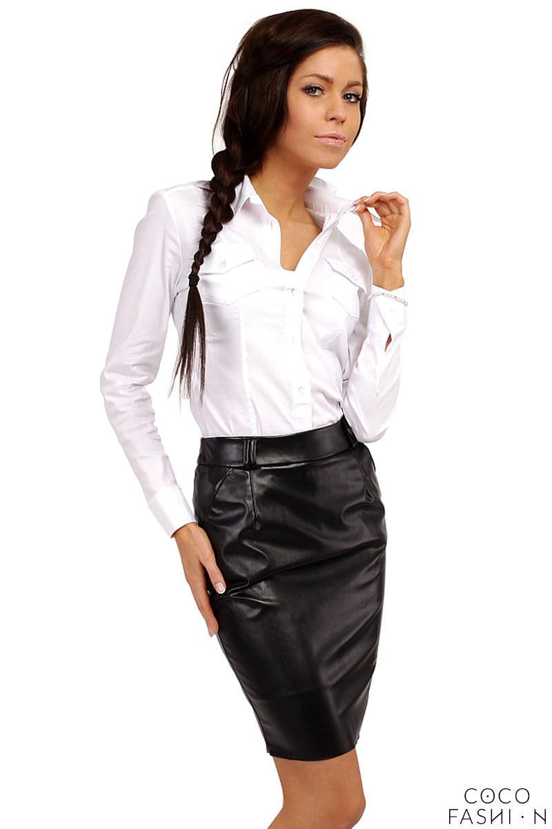 Pencil Leather Black Skirt with Loops for Belt от cocofashion