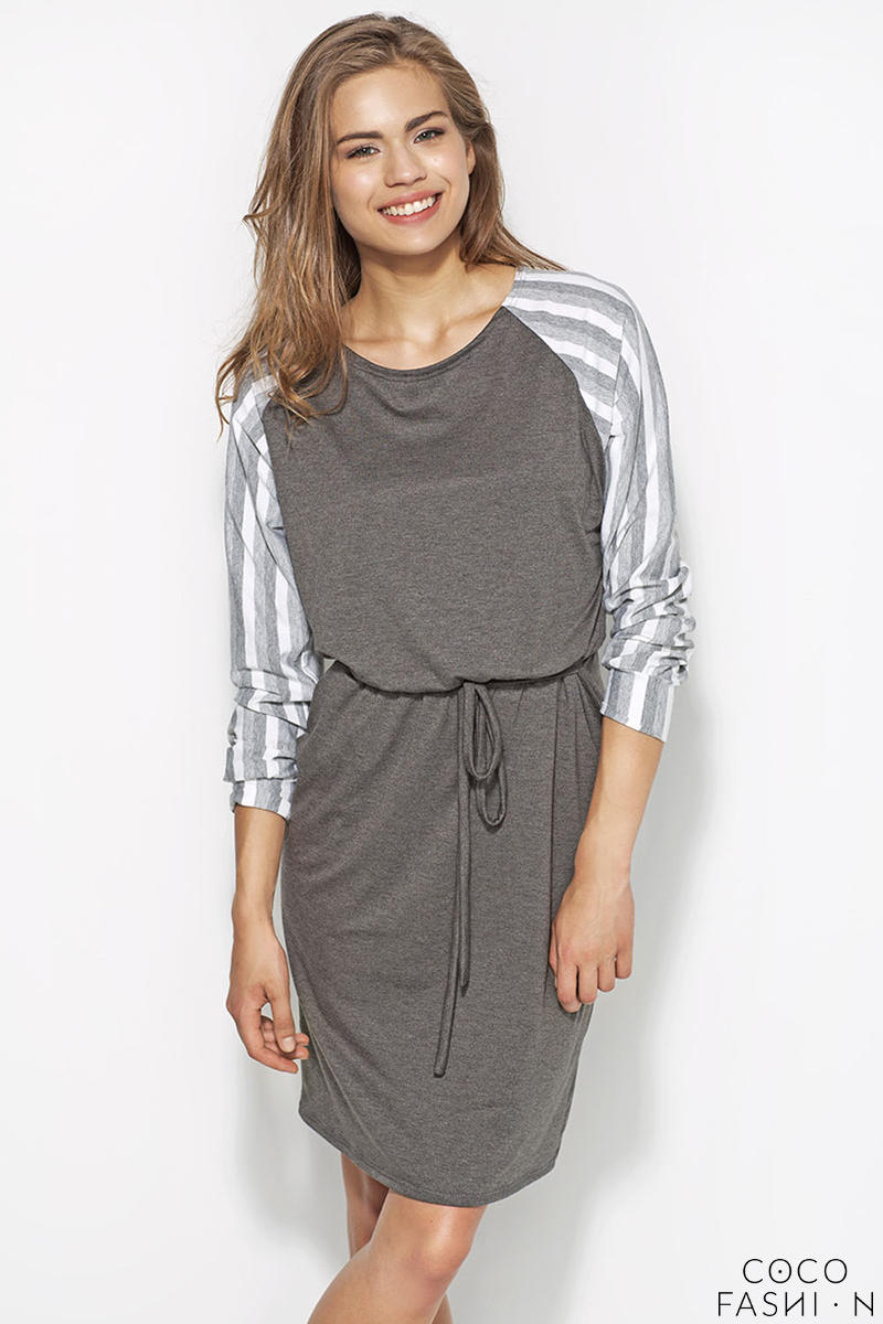 Grey&White Flecked Dress with Raglan Striped Sleeves and Self Tie Waist Belt от cocofashion