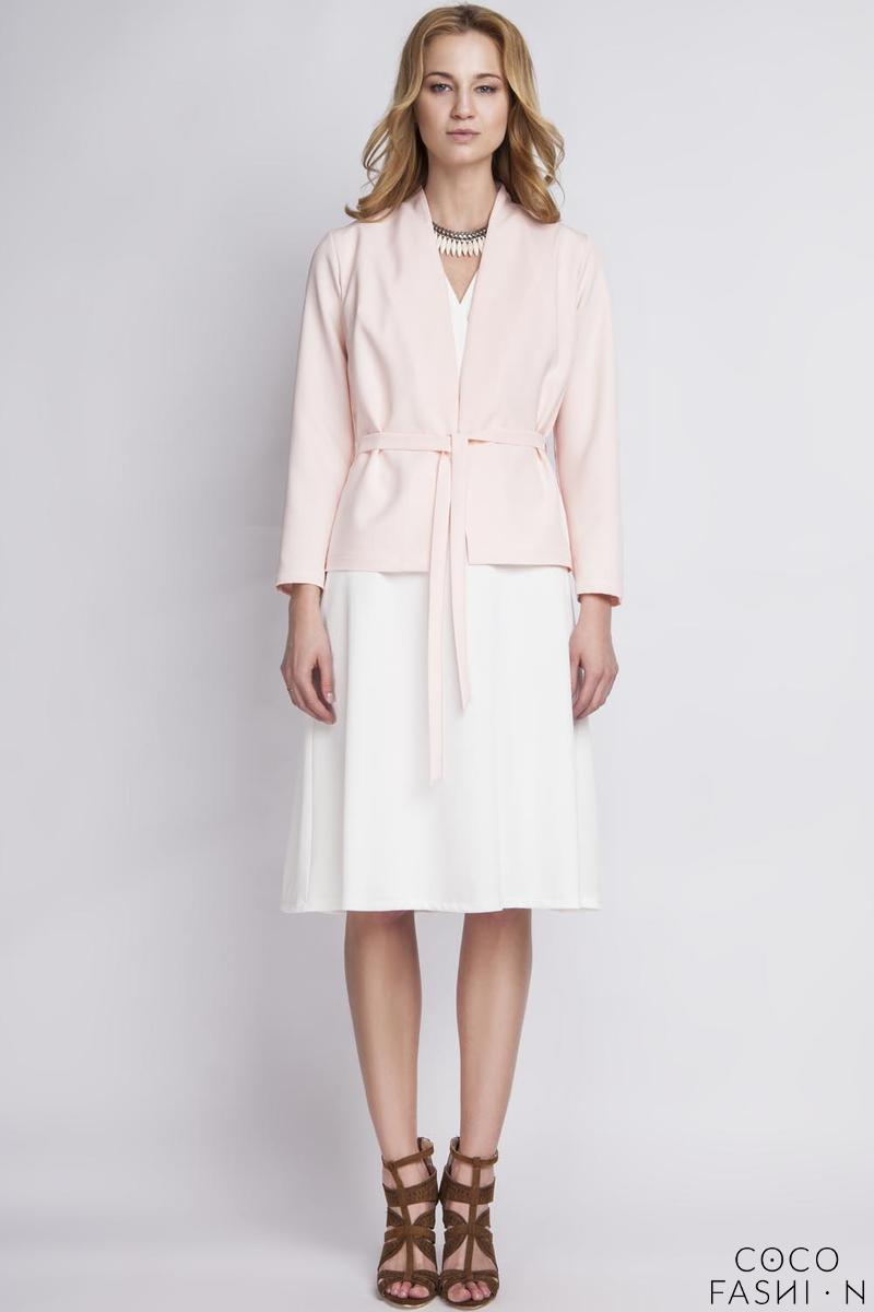 Pink Stylish Self Tie Belt Blazer