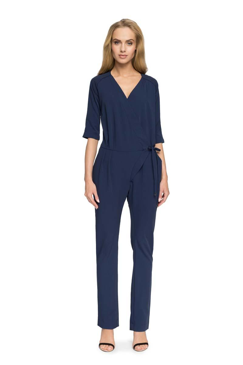 Dark Blue V-Neckline Jumpsuit