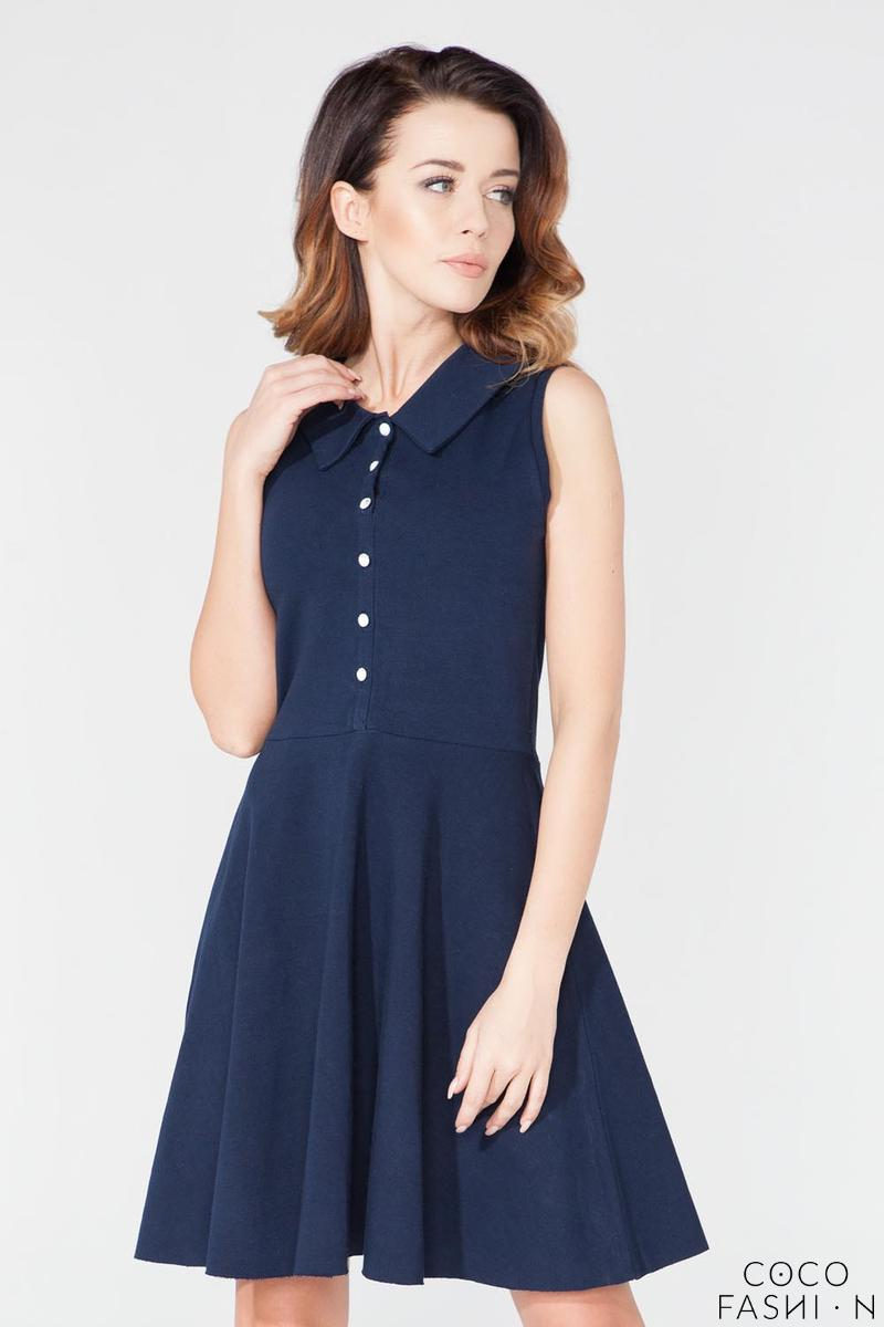 Dark Blue Buttons Closure Casual Shirt Dress