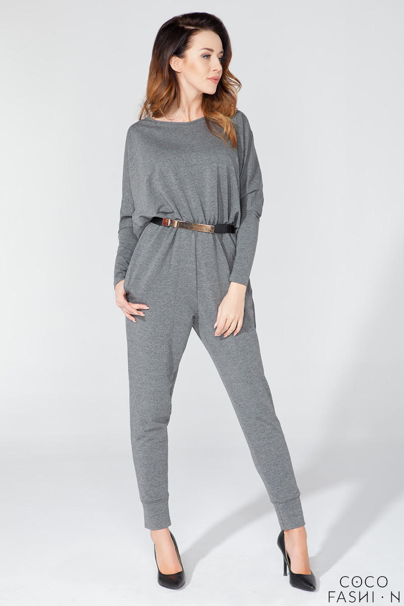 Grey Bat Sleeves Tapered Legs Jumpsuit