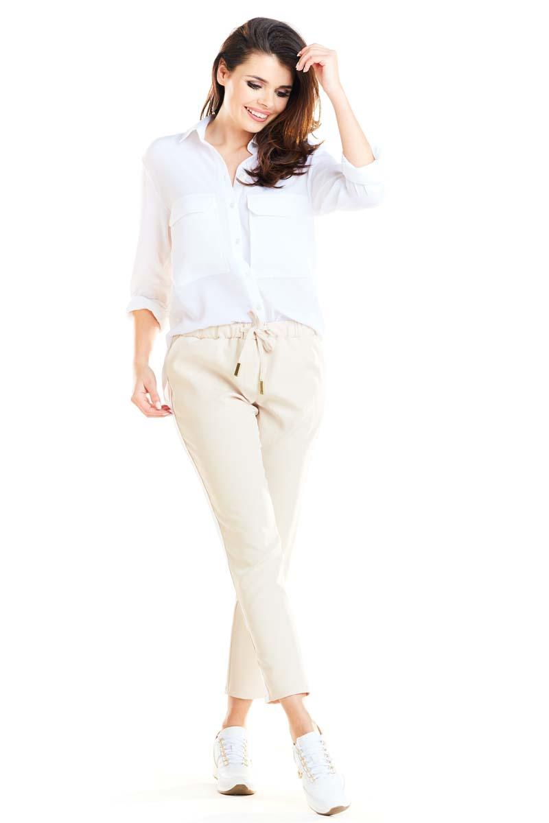 Beige Casual Pants With Stripes