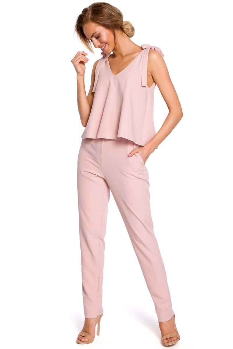 Powdre Pink Elegant Ladies Jumpsuit with Bows