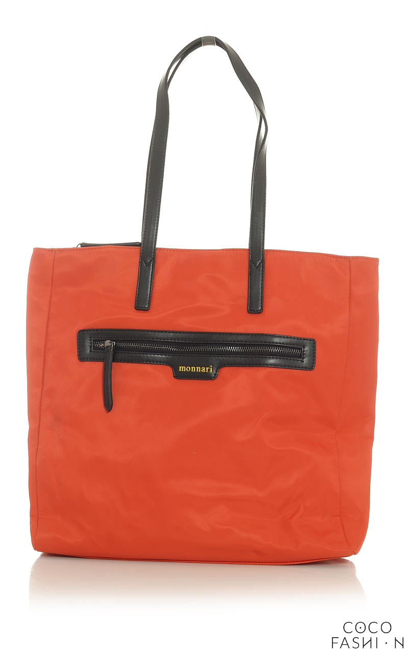 Orange Shopper Bag with Front Pocket