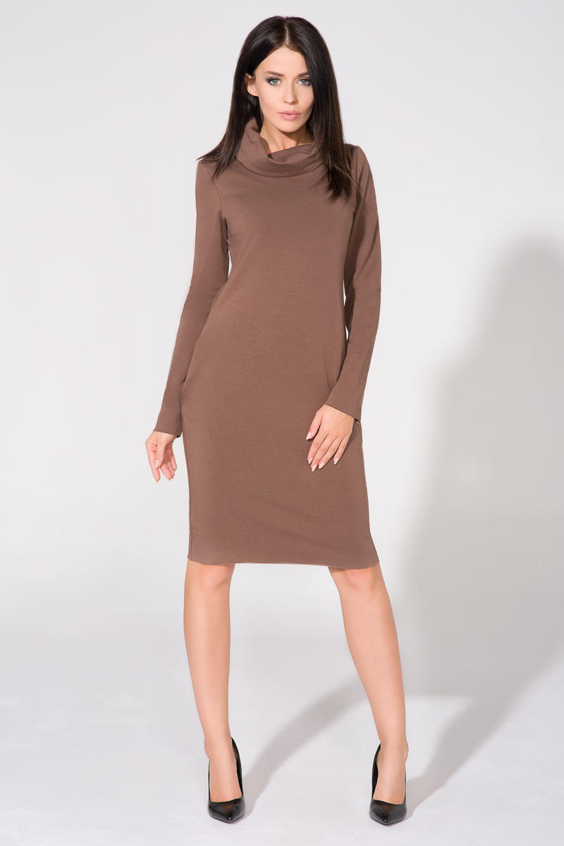 brown-casual-tourtleneck-dress