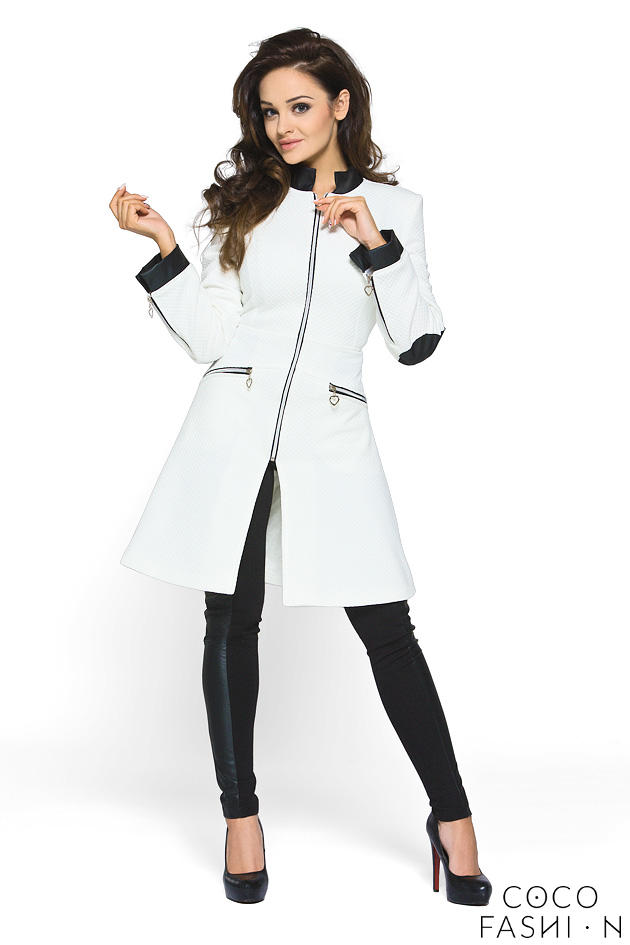 White Zipper Closure Leather Details Spring Coat