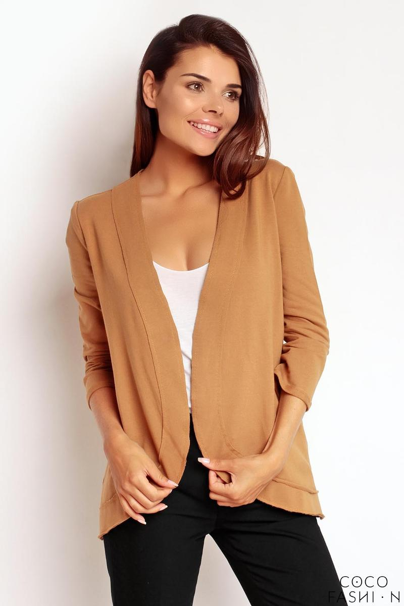 Brown No Buttons 3/4 Sleeves Simple Thin Blazer