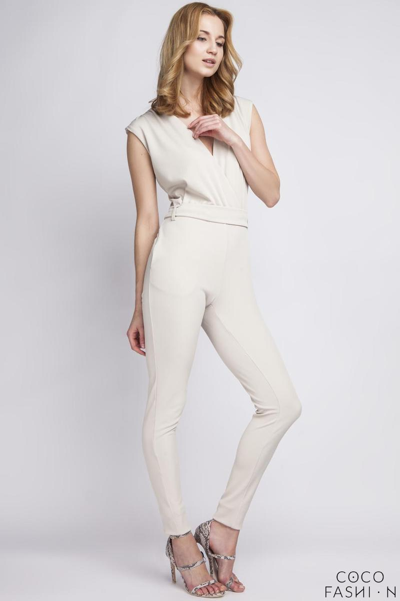 Beige Wrap Neckline Elegant Ladies Jumpsuit