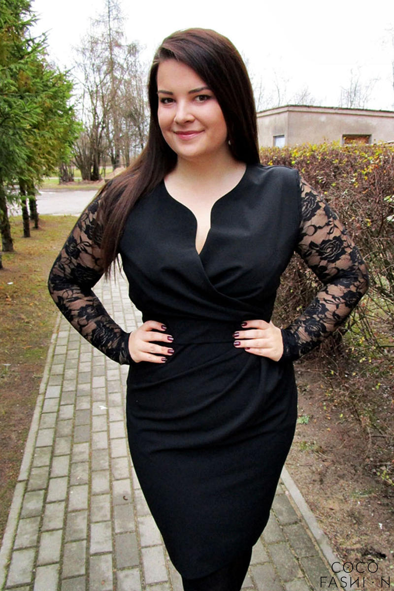 Black Elegant Lace Sleeves Slim Waist Evening Dress PLUS SIZE