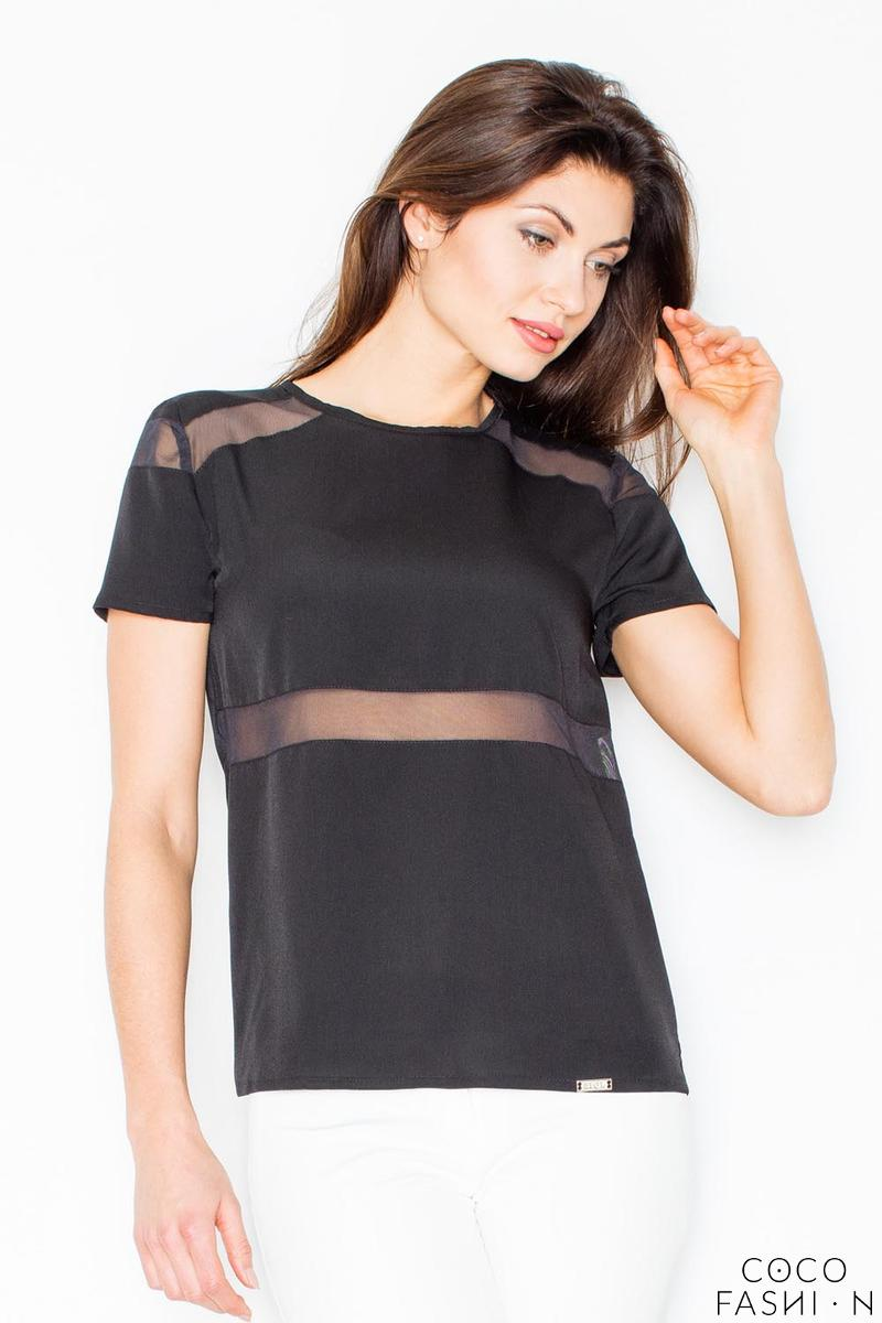 Black Simple Blouse with Transparent Details
