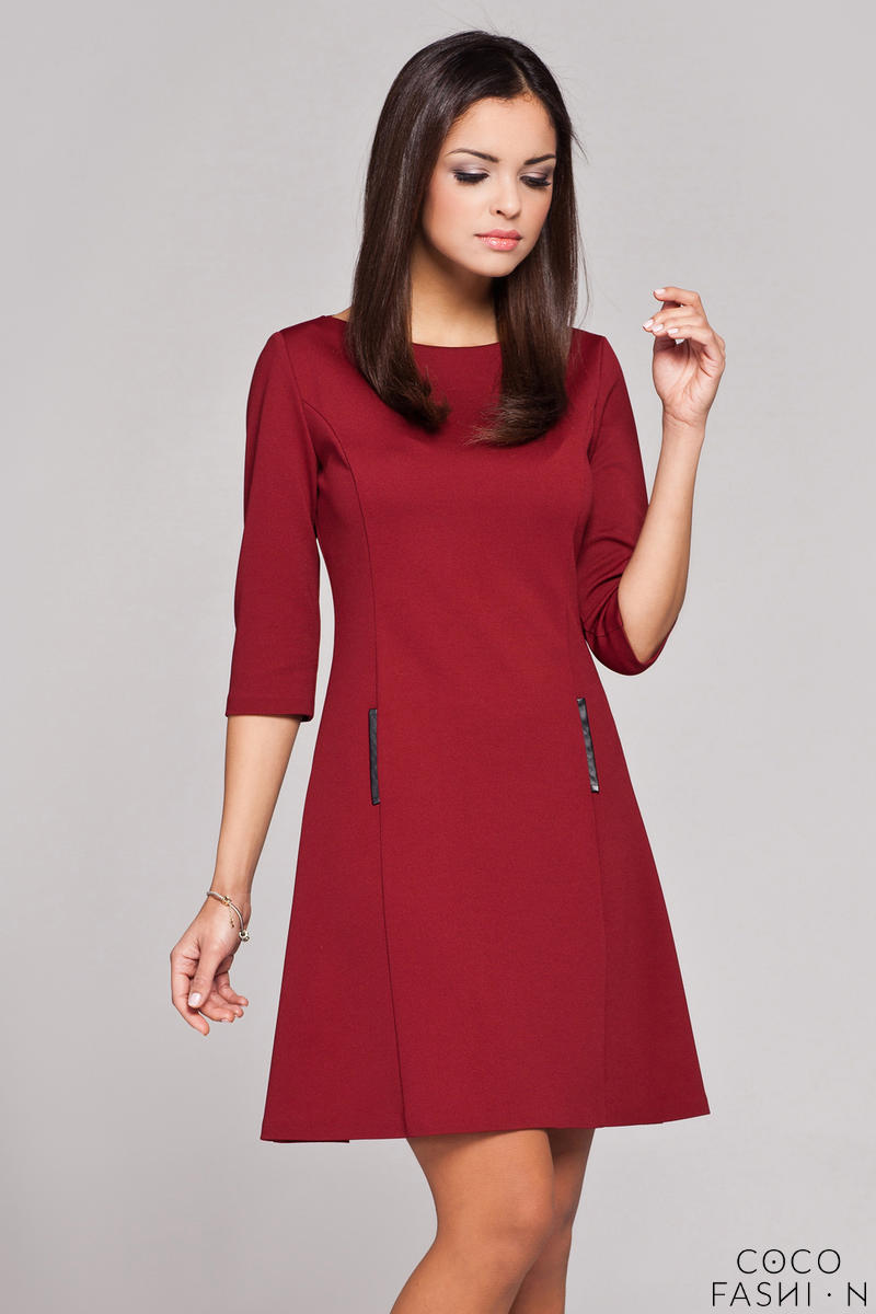 Maroon High Tailored Executive Skater Dress