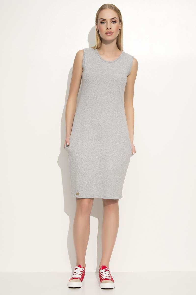 Light Grey Casual Sleeveless Dress with Side Pockets