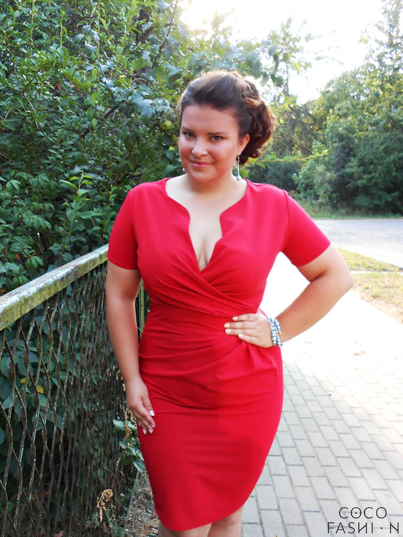 Wrap Around  Red Dress Plus Size