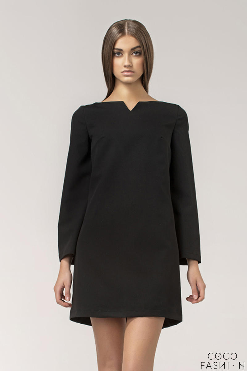 black-high-fashion-mini-shift-dress