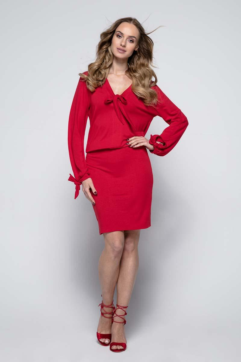 Red Casual Dress with Self Tie Bows