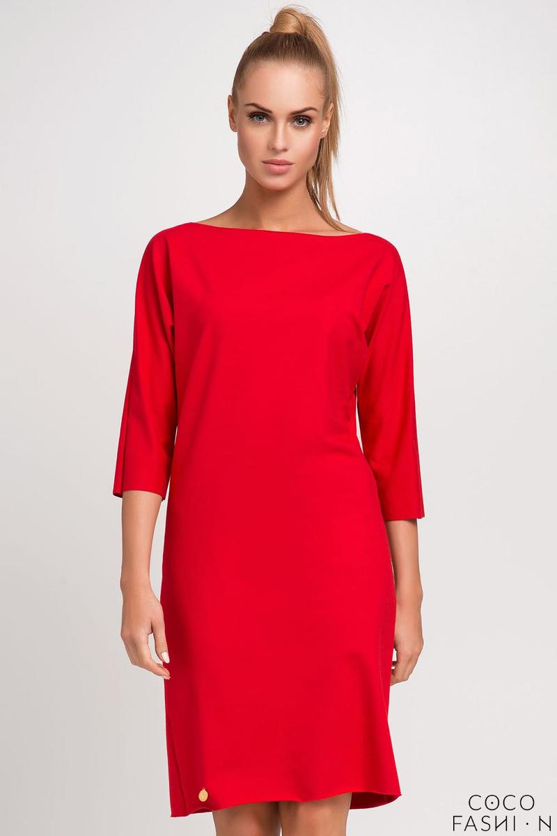 red-simple-little-boat-neckline-dress