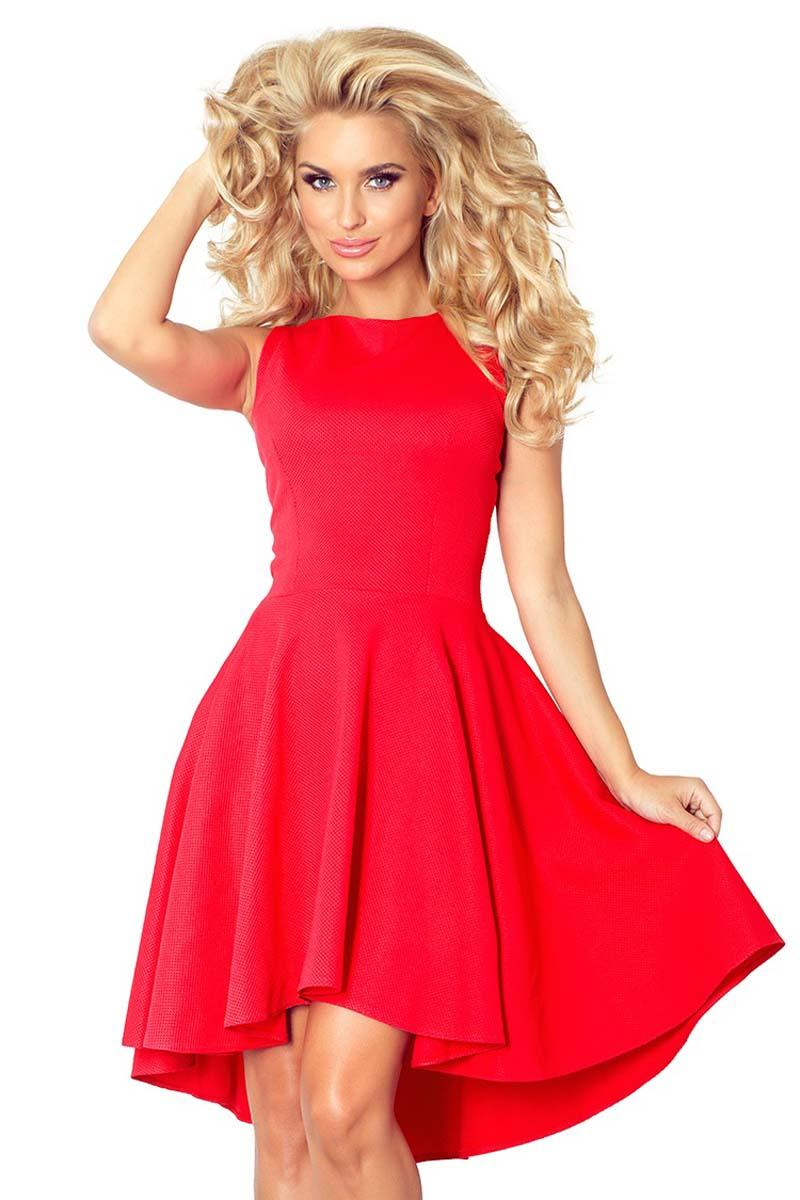 Red Asymetrical Light Pleats Coctail Dress