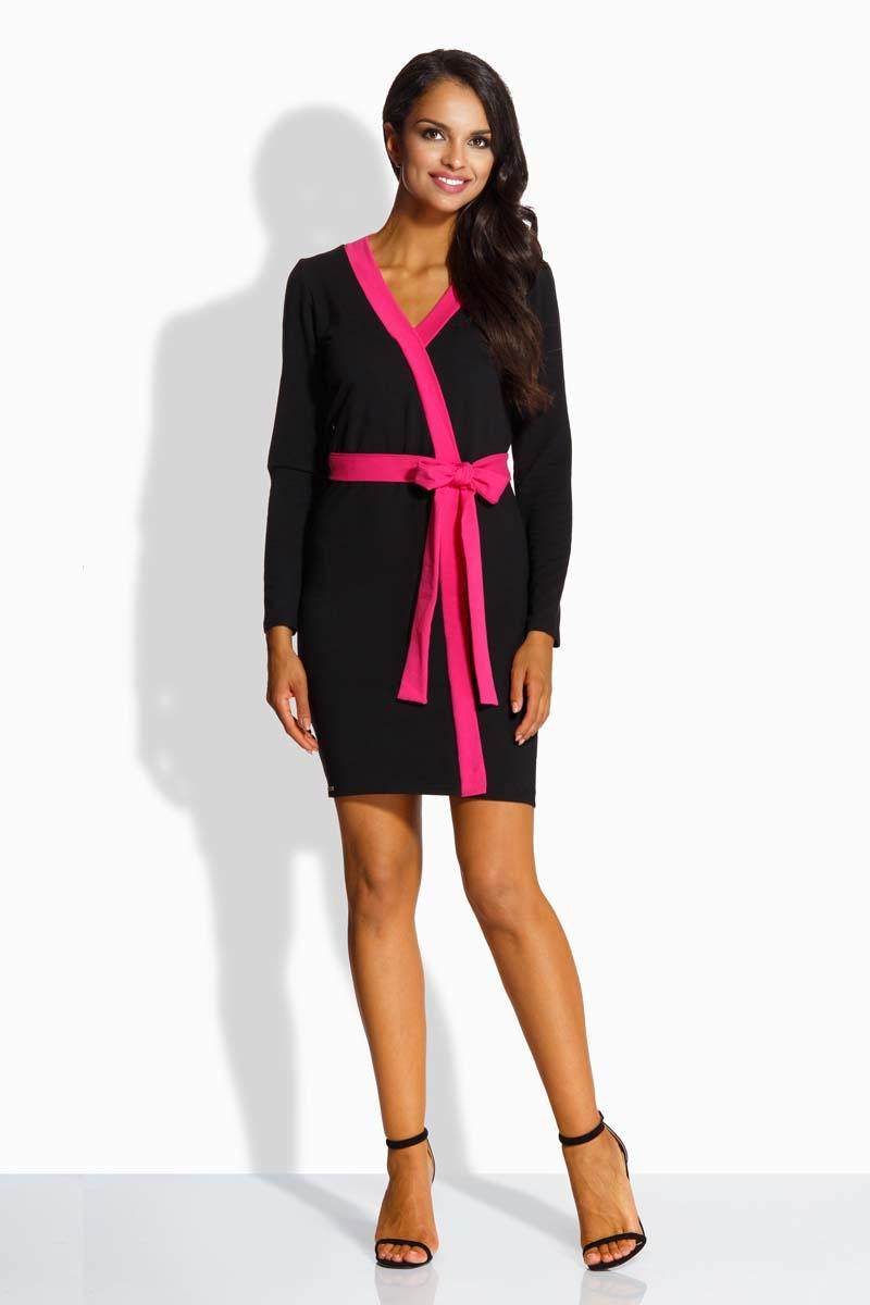 Black Mini Dress With Contrast Pink Piping