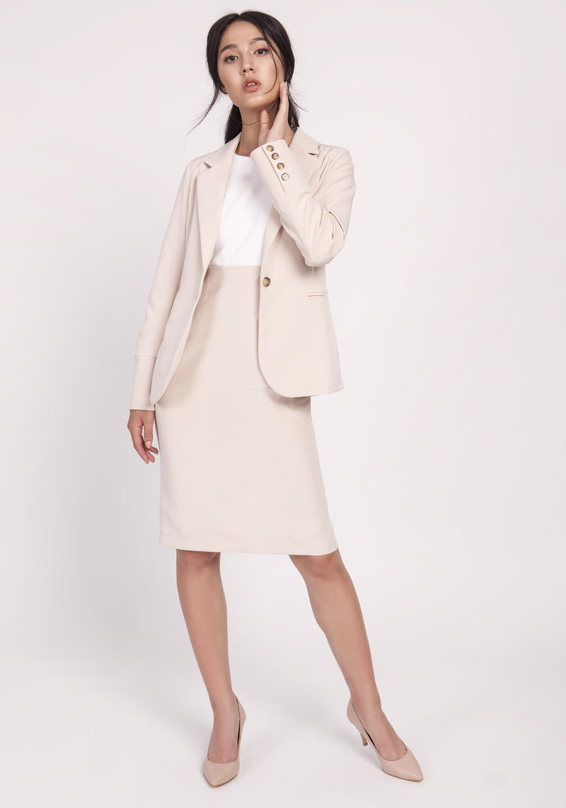 Beige Classic Jacket Fastened with One Button
