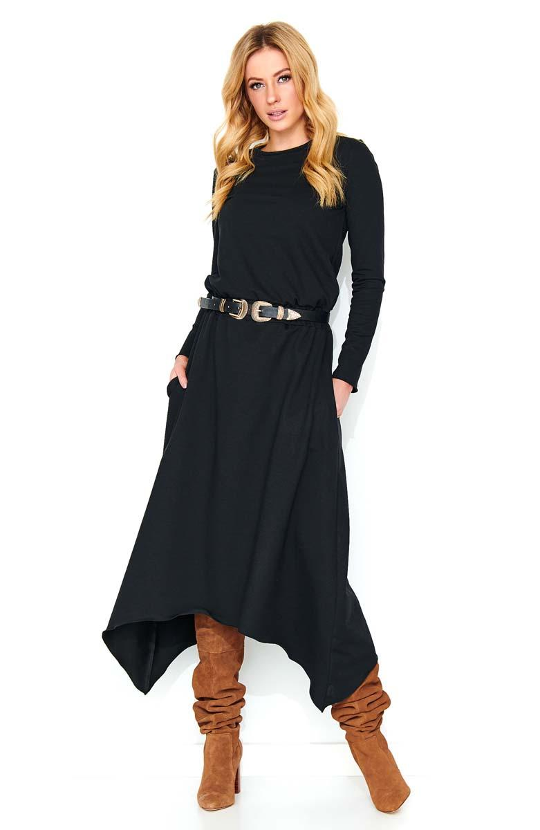 Black Asymetrical Midi Dress