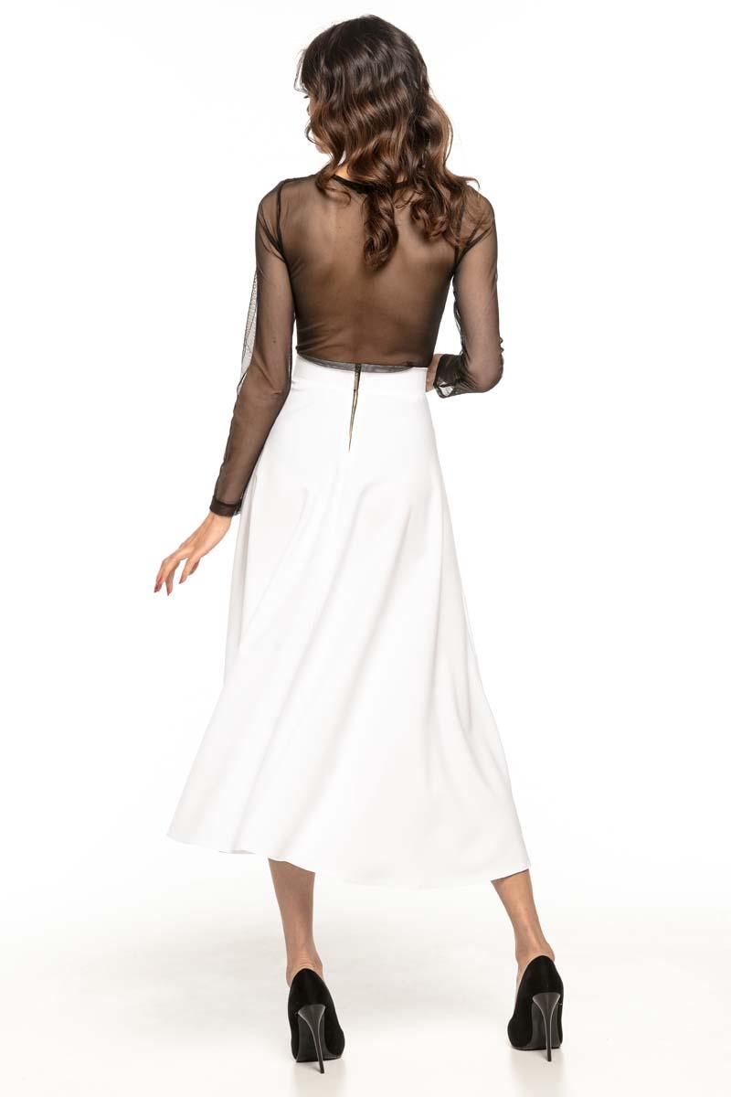White Flared High Waist Skirt