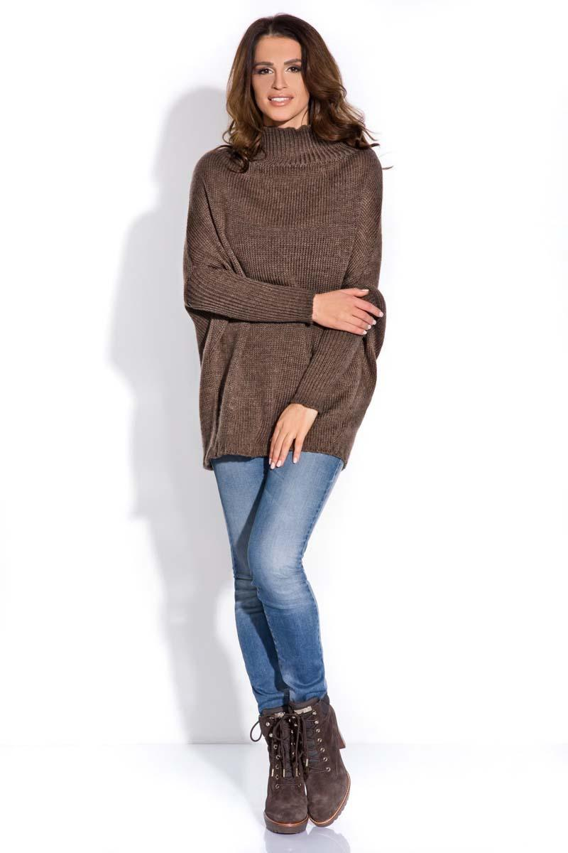 Brown Bat Sleeves Tourtleneck Sweater