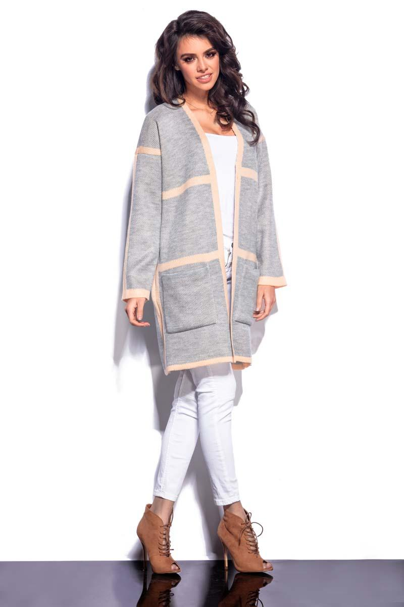 grey-salmon-long-cardigan-with-contrasting-piping
